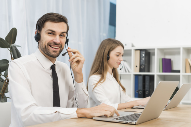 Home services agents working in call center